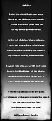 Invictus By William Ernest Henley Print by Daniel Hagerman