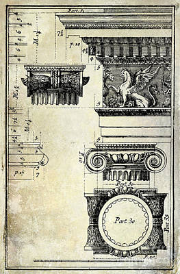 Greek Drawing - Ionic Capitol by Jon Neidert
