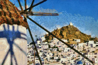 Windmills Painting - Ios Town And Windmill by George Atsametakis