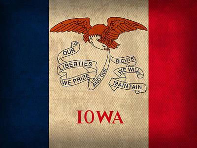 Hawkeye Mixed Media - Iowa State Flag Art On Worn Canvas by Design Turnpike