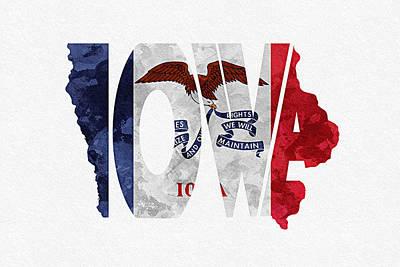 Iowa Typographic Map Flag Print by Ayse Deniz