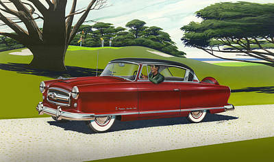 iPhone - Galaxy Case - 1953 Nash Rambler car americana rustic rural country auto antique painting Print by Walt Curlee