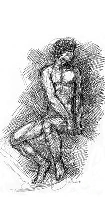 Male Nude Drawing Drawing - iPhone-Case-Nude-Male1 by Gordon Punt