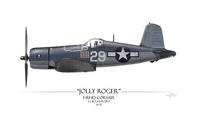 Tinder Digital Art - Ira Kepford F4u Corsair - White Background by Craig Tinder