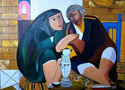 Old Iraqi City Painting - Iraqi Tea by Rami Besancon