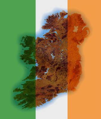 Brat Digital Art - Ireland Tri Colour by Val Byrne