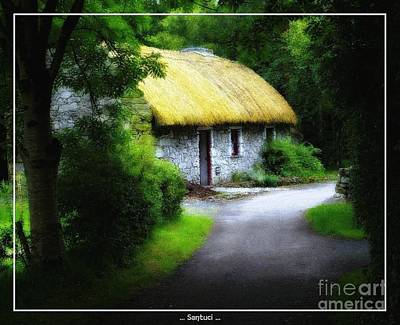 Irelands Folk Park Cottage Oil Painting Effect Print by Robert Santuci