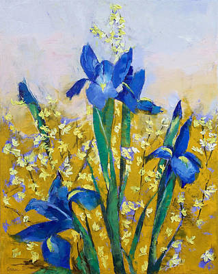 Forsythia Painting - Iris And Forsythia by Michael Creese