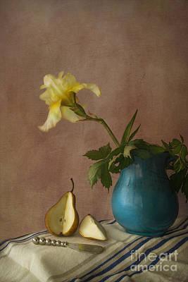 Iris And Pear Print by Elena Nosyreva