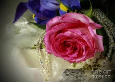 Iris And Rose On Vintage Treasure Box Print by Inspired Nature Photography Fine Art Photography