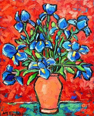 Interior Still Life Painting - Iris Bouquet by Ana Maria Edulescu