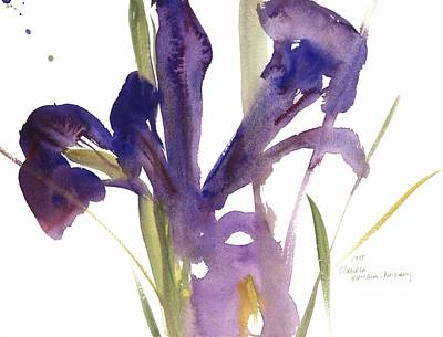In Bloom Painting - Iris by Claudia Hutchins-Puechavy