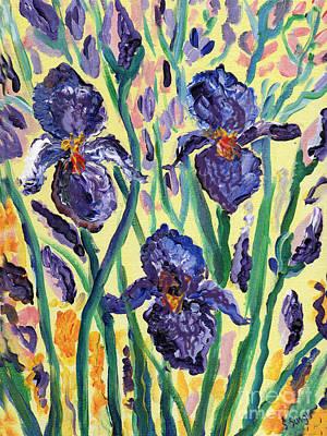 Print Of Irises Painting - Iris Garden by Sarabjit Singh