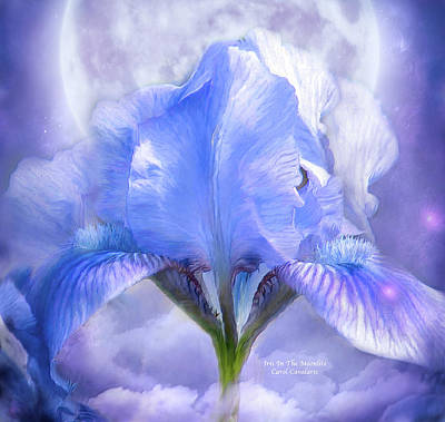 Iris - Goddess In The Moonlite Print by Carol Cavalaris