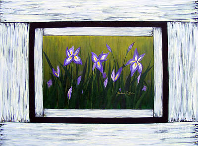 On Old Weathered Boards Painting - Irises And Old Boards - Weathered Wood by Barbara Griffin