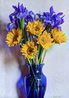 Irises And Sunflowers Print by Heidi Smith