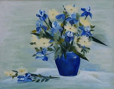 Mums Painting - Iris In Blue Vase by Barbara Moak