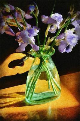 Irises In Morning Light Print by Michelle Calkins