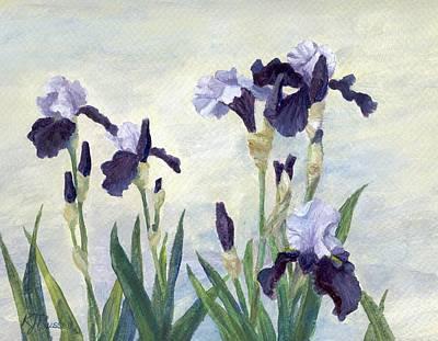 Print Of Irises Painting - Irises Purple Flowers Painting Floral K. Joann Russell                                           by K Joann Russell