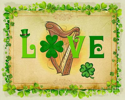 Good Luck Mixed Media - Irish Love by Bedros Awak