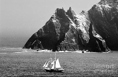 Irish Navy Sail Training Ship Asgard Passes The Skelligs Off Kerry Ireland Print by David Lyons