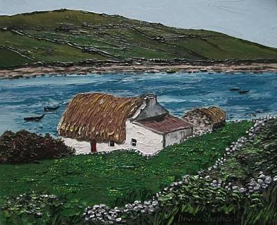 Irish Thatch Cottage Connemara Ireland Print by Diana Shephard