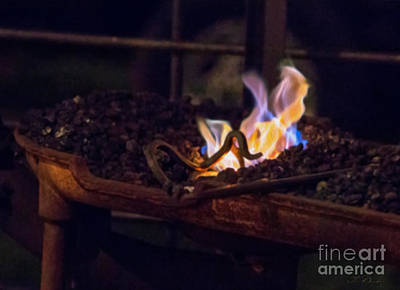 Iron In Fire Oiltreatment Print by Iris Richardson