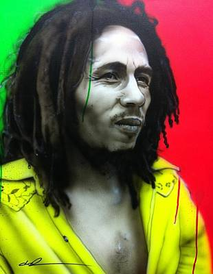 Flower Power Painting - Bob Marley - ' Iron Like A Lion In Zion ' by Christian Chapman Art
