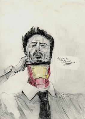 Super Hero Drawings Drawing - Iron Man by Chance Shackelford