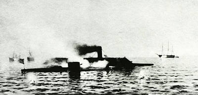 Monitor Photograph - Ironclad Warships In Combat by Us Navy/naval History And Heritage Command