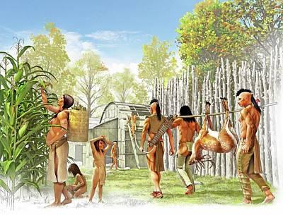 Precolumbian Photograph - Iroquois Settlement by Jose Antonio Pe�as