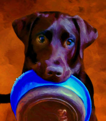 Black Lab Puppy Painting - Is It Time Yet? by Michael Pickett