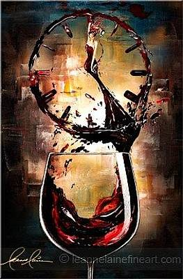 Wine Art Painting - Is It Wine O'clock Yet Wine Art Painting by Leanne Laine