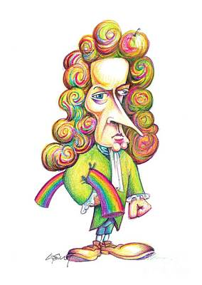 Isaac Newton Caricature Print by Science Photo Library