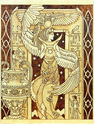 Isis Egyptian Goddess Of Motherhood And Magic Wooden Pyrography Plaque Original by Yanka