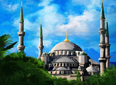 Kalma Painting - Islamic Mosque by Catf