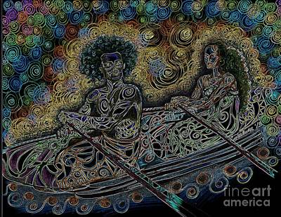Island Canoe Lovebirds Print by Teleita Alusa