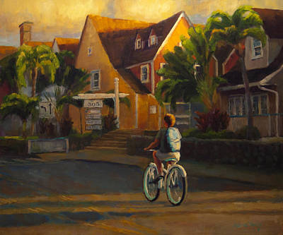 Bicycling Painting - Island Commute by Jeanne Young