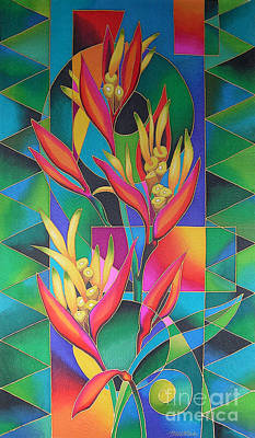 Heliconia Painting - Island Flowers - Heliconia by Maria Rova