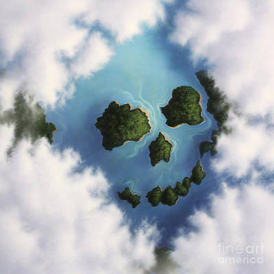 Cloudscape Digital Art - Islands Framed By Clouds Forming by Jerry LoFaro