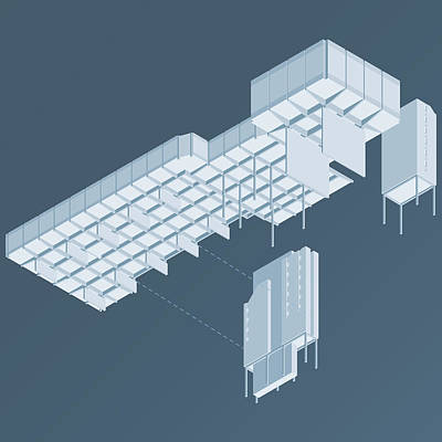 Brutalist Digital Art - Isometric Council Chambers by Peter Cassidy