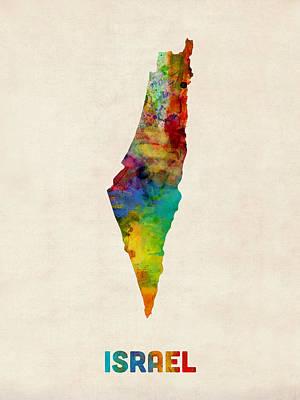 Israel Digital Art - Israel Watercolor Map by Michael Tompsett