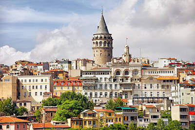 Istanbul Cityscape And Galata Tower Print by Artur Bogacki