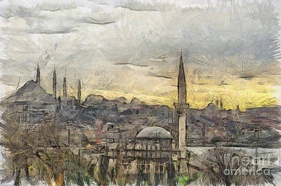 Istanbul Cityscape Digital Drawing Print by Antony McAulay