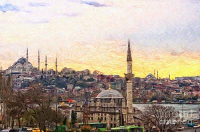 Istanbul Cityscape Digital Painting Print by Antony McAulay
