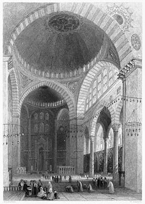 Bosphorus Painting - Istanbul Mosque, 1839 by Granger