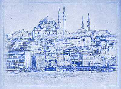 Istanbul Skyline Blueprint Print by Justin Woodhouse