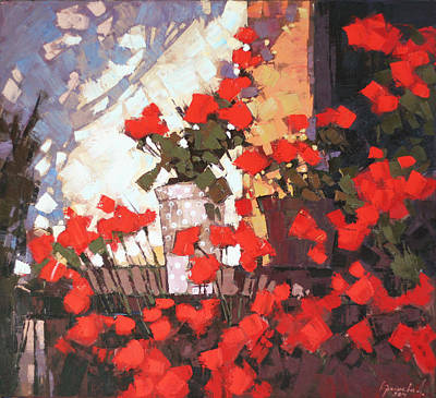 Red Geranium Painting - It Is Noon by Anastasija Kraineva