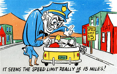 Family Car Drawing - It Seems The Speed Limit Really Is 15 Miles by Eldon Frye