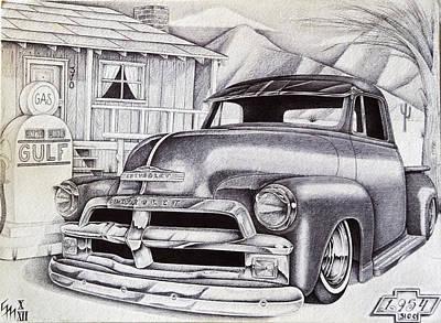 Classic Truck Drawing - It Was 1954 by Omar Boke